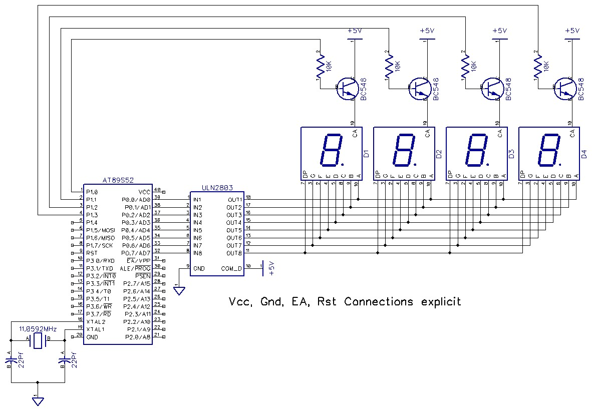 Multiplexed Seven Segment Display Drive Using 8051 7 Circuit Diagram In This Approach The Basic Concept Is Scan Enable Disable All Displays At A Very High Speed And Put Appropriate Data Right Moment Of Time