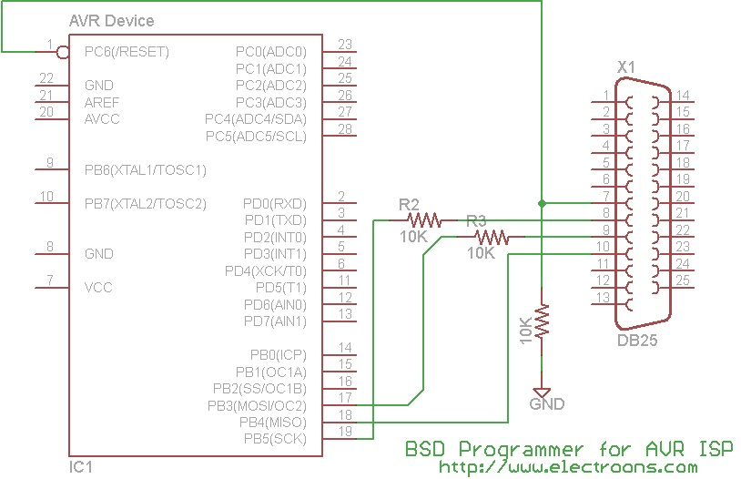 Schematics Of A Simple Atmel Avr Programmer For Parallel Port