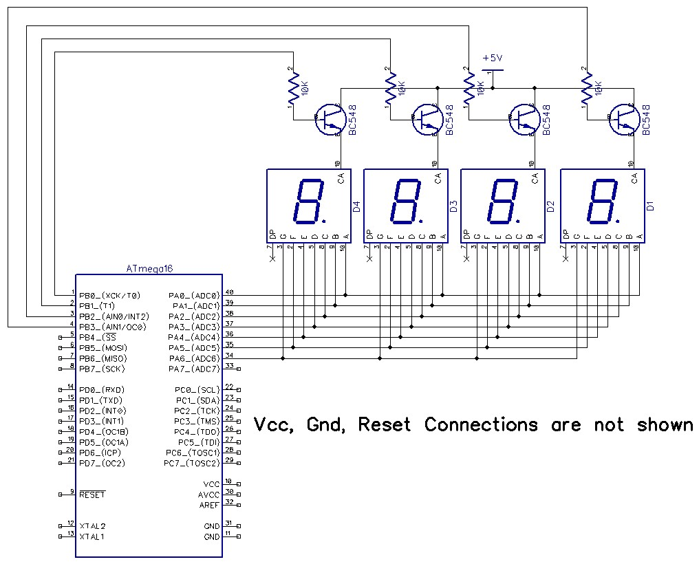 Seven Segment Drive Using Avr Microcontroller 7 Display Circuit Diagram Figure Above Shows The Arrangment For 4 In A Multiplexed Manner Data To Be Displayed Is Put Onto Unit On